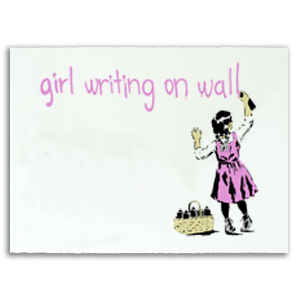Girl Writing On Wall Print